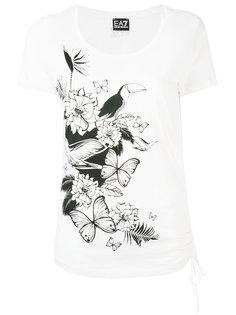 футболка с растительным принтом Ea7 Emporio Armani