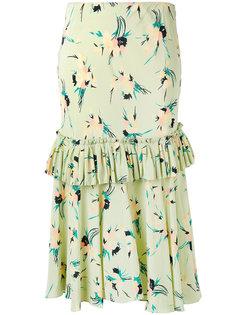присборенная юбка с цветочным принтом Marni