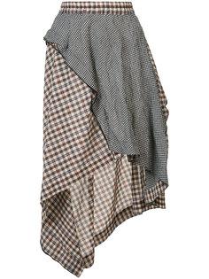 асимметричная клетчатая юбка  Hache