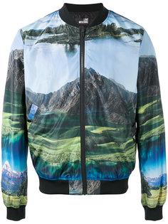 куртка-бомбер  с принтом-пейзажем Love Moschino