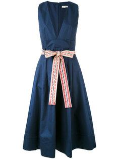 платье с V-образным вырезом и поясом Miahatami