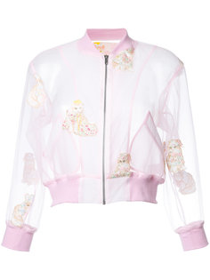 embroidered cat cropped jacket  Mikio Sakabe