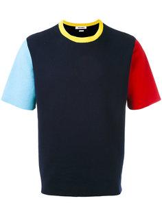 футболка дизайна колор-блок Sunnei