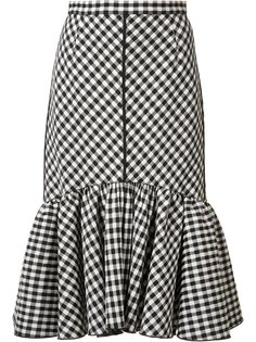 pleated trim checked skirt  Tome