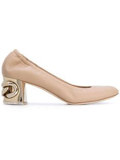 туфли с каблуком металлик Casadei