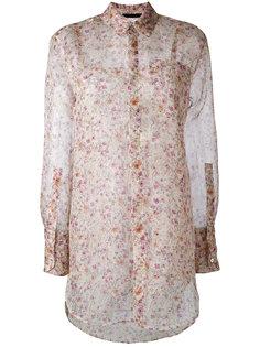 полупрозрачная рубашка с цветочным узором Calvin Klein Collection