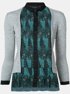 tribal print pleated cardigan Yigal Azrouel