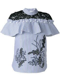 полосатая блузка с вышивкой макраме Self-Portrait