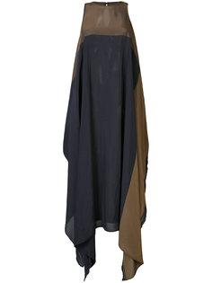 двухцветное асимметричное платье Uma Wang