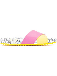 printed cross strap slippers Mira Mikati