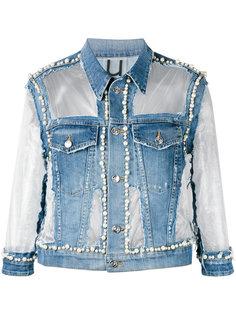 джинсовая куртка с прозрачными вставками Aviù