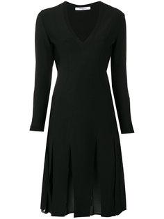 платье с V-образным вырезом и плиссировкой Givenchy