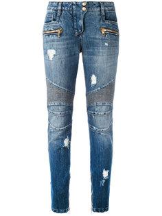 байкерские джинсы с потертой отделкой Balmain