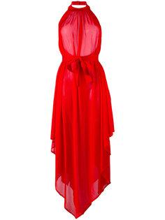 асимметричное платье с вырезом-халтер Balmain