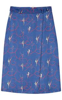 Синяя юбка с запахом La Reine Blanche