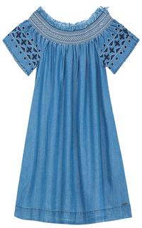 Платье с открытыми плечами и вышивкой Pepe Jeans London
