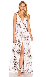 Deep v floral gown - BEACH RIOT
