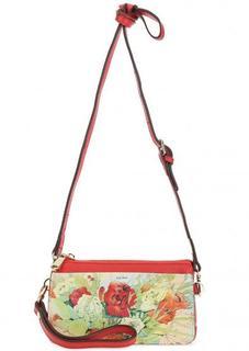 Маленькая кожаная сумка с цветочным принтом Fiato Dream