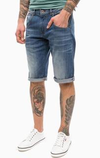 Синие джинсовые шорты с заломами Mustang