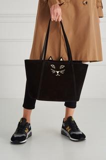 Замшевая сумка-шопер Mini Feline Shopper Charlotte Olympia