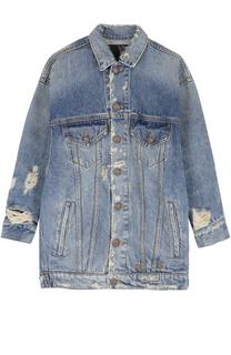Джинсовая куртка с укороченным рукавом и потертостями R13