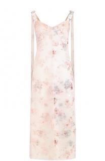 Шелковое платье с цветочным принтом и разрезами Calvin Klein Collection