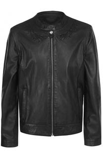 Кожаная куртка на молнии с отстегивающимися рукавами Frankie Morello