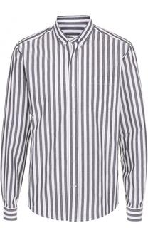 Хлопковая рубашка в полоску с воротником button down Ami