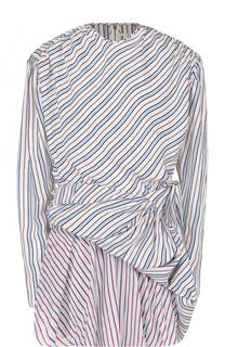 Мини-платье в полоску с драпировкой Balenciaga