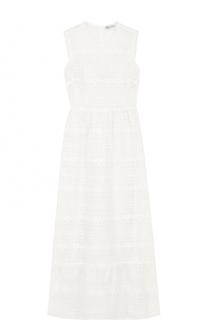 Кружевное платье-миди с оборкой REDVALENTINO