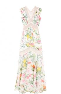 Платье с цветочным принтом и кружевными вставками Tadashi Shoji