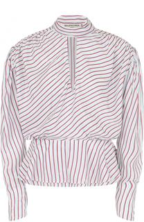 Блуза в полоску с драпировкой и баской Balenciaga