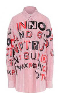 Блуза свободного кроя с контрастными надписями Maison Margiela