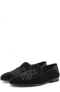 Текстильные лоферы с вышивкой бисером Alexander McQueen