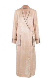 Шелковое пальто с запахом иконтратсной отедлкой Raquel Allegra