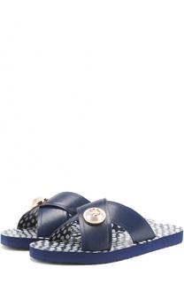 Кожаные шлепанцы с логотипом бренда Tory Burch