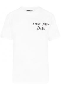 Хлопковая футболка с контратсным принтом MCQ