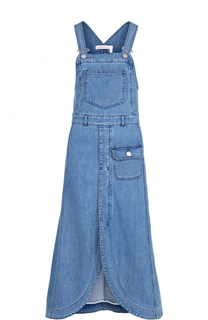 Приталенный джинсовый сарафан с потертостями See by Chloé