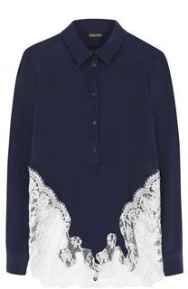 Шелковая блуза с контратсной кружевной отделкой Ermanno Scervino