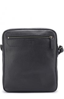 Кожаная сумка-планшет с внешним карманом на молнии Armani Collezioni