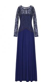 Платье-макси с кружевным лифом St. John