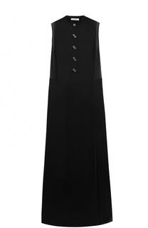 Платье с высокими разрезами и прозрачными вставками Lanvin