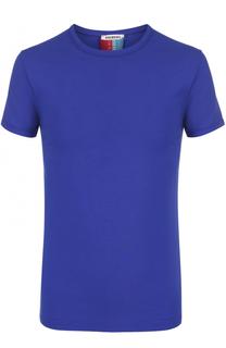 Хлопковая футболка с круглым вырезом и контрастной отделкой Dirk Bikkembergs