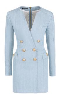 Джинсовое платье-футляр с декоративными пуговицами Balmain