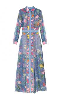 Платье-макси с ярким цветочным принтом Tadashi Shoji