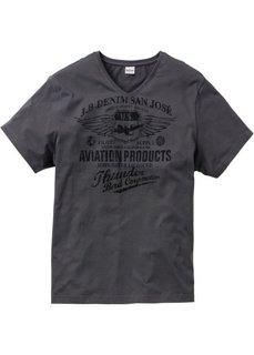 Принтованная футболка Regular Fit (антрацитовый) Bonprix