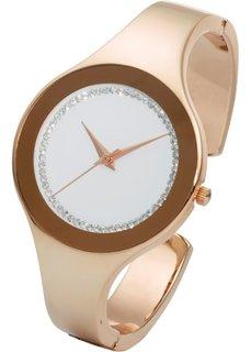 Часы на браслете-полукольце со стразами (розово-золотистый) Bonprix