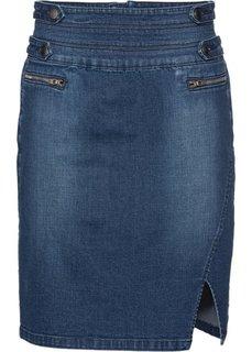 Джинсовая юбка-стретч (темно-синий) Bonprix