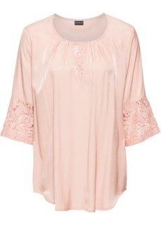 Блузка с кружевной отделкой (винтажно-розовый) Bonprix