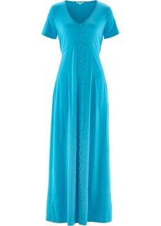 Трикотажное макси-платье с коротким рукавом (синий) Bonprix